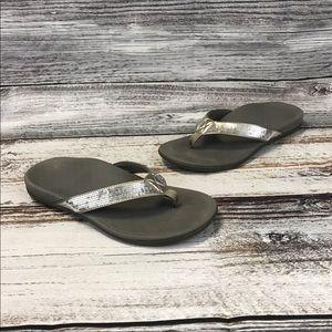 Vionic Tide Silver Sequins Thong Flip Flops Size 9